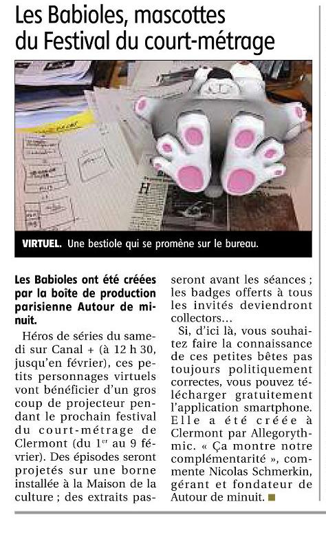 """""""Babioles"""" in La Montagne, 18 février 2013"""